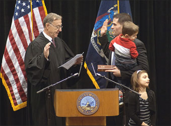 Marcus Molinaro and children Oath of Office image
