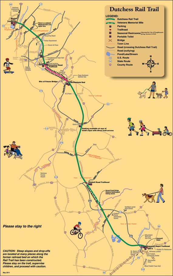 Map of Construction Progress for the Dutchess Rail Trail