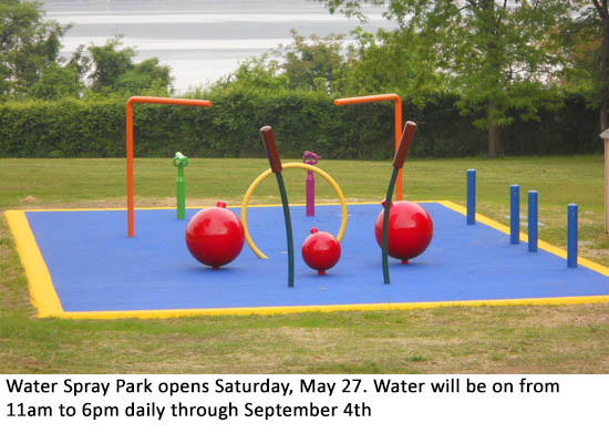 Water Spray Park opens Saturday, May 27. Water will be on from 11am to 6pm daily through September 4th