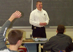 School Resource Officer in classroom with students