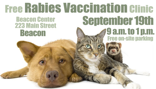 Free Rabies Vaccination Clinic - Sept 19, 9am - 1pm - Beacon Center 223 Main St Beacon NY - photo of a cat, dog and ferret